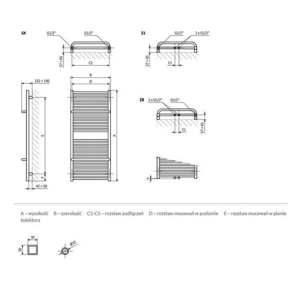 TERMA Lima kúpeľňový radiátor Schéma rozmerov