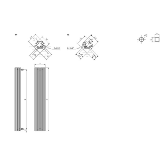 TERMA Triga ANC dizajnový radiátor Schéma