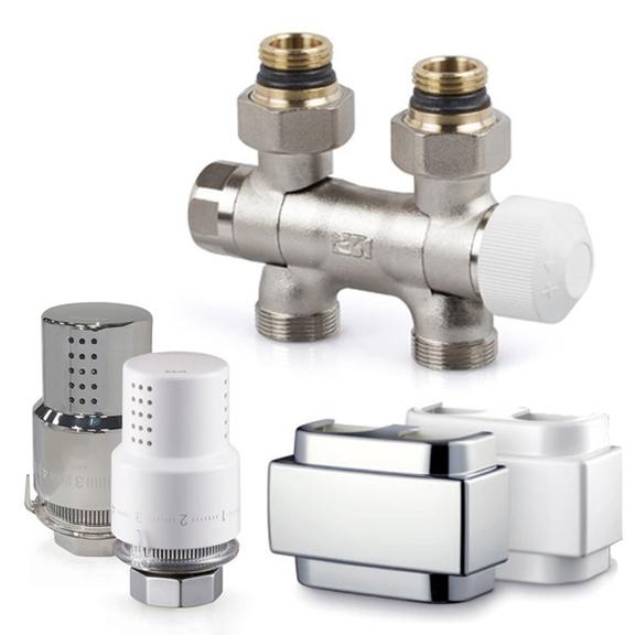 SR univerzálny stredový ventil s termostatickou hlavicou Aria a Krytom