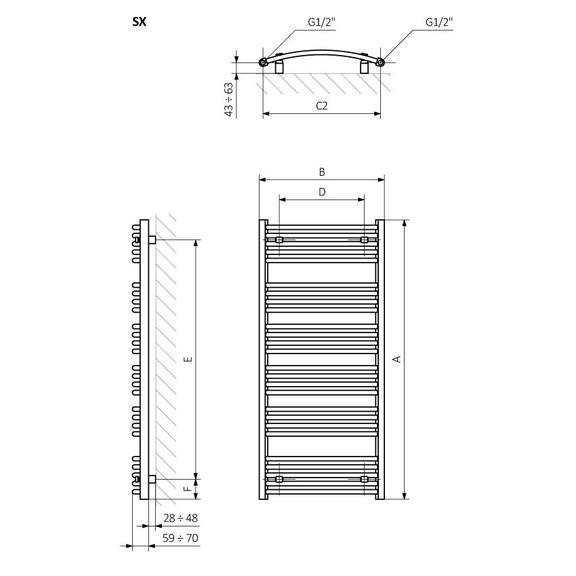 TERMA Domi kúpeľňový radiátor Schématické zobrazenie rozmerov