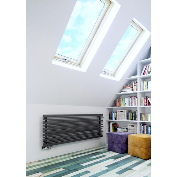 TERMA Sherwood H radiátor pod okno 540x1600 farba Metallic Grey interiér