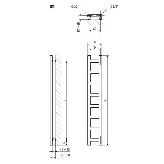 TERMA Easy vertikálny dizajnový radiátor - Schéma - rozmery