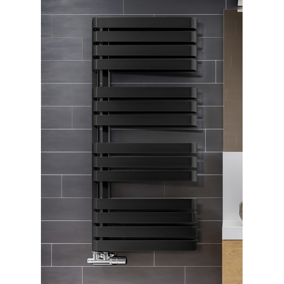 TERMA Warp S dizajnový radiátor 1110x500 farba Metallic Black