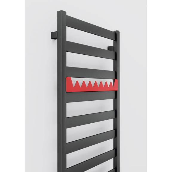 TERMA Vivo kúpeľňový radiátor 1390x500 farba Metallic Grey detail vešiaky Happy Shark