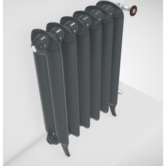 TERMA Plain retro radiátor farba Flat Black stojaci detail zboku
