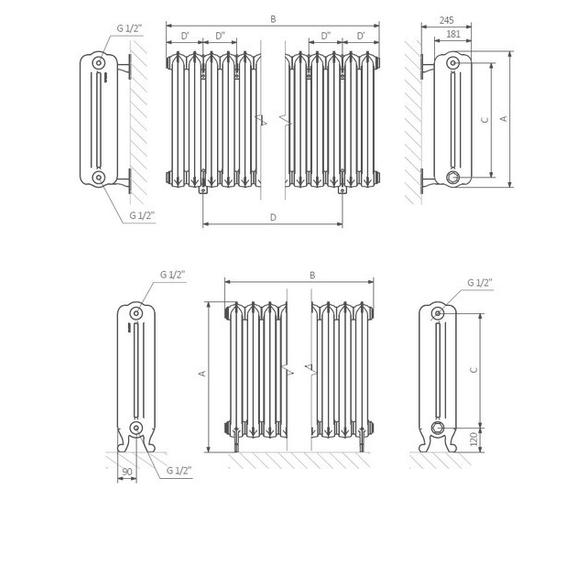TERMA Kaszub retro radiátor Schéma - na zem, na stenu