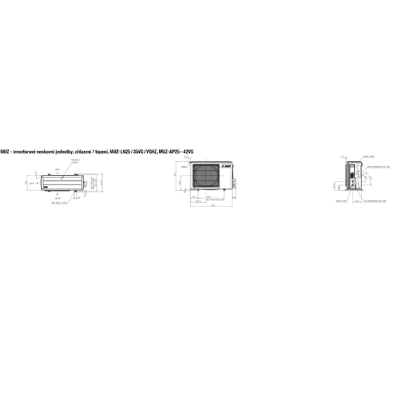 Mitsubishi MUZ-LN25 / 35VG / VGHZ, MUZ-AP25 – 42VG - rozmerová schéma
