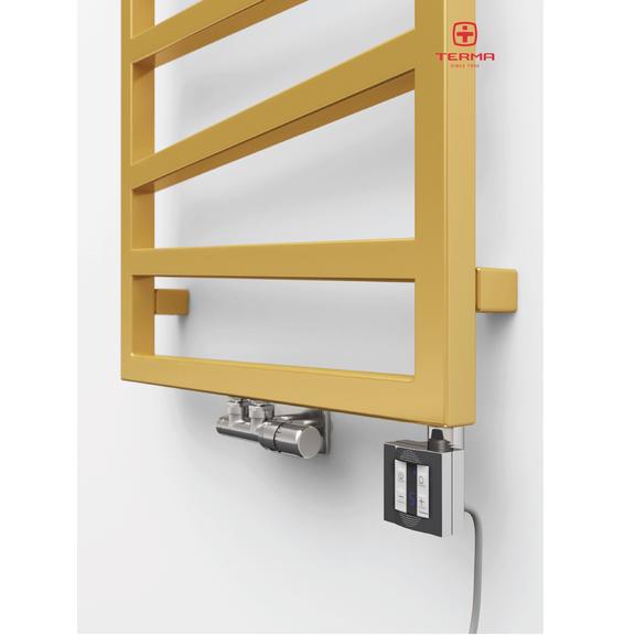 TERMA Zigzag elekrický kúpeľňový radiátor 835x500 farba Gold Gloss - detail