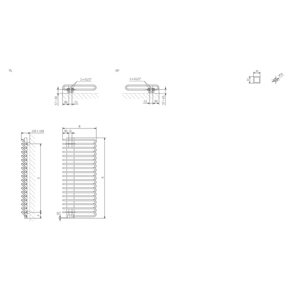 TERMA Michelle dizajnový radiátor - Schéma - rozmery k montáži