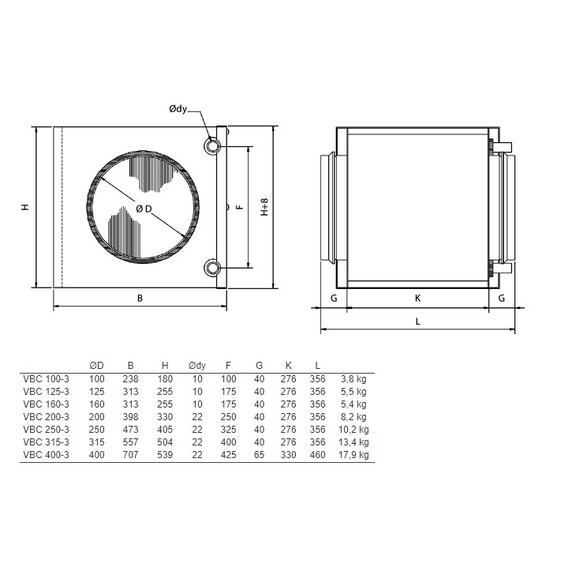 Systemair VBC X-3 vodný ohrievač pre kruhové potrubie - Rozmery