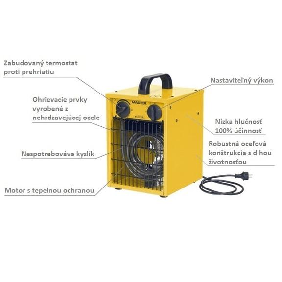 Master B 2 EPB profesionálny elektrický ohrievač s ventilátorom popis