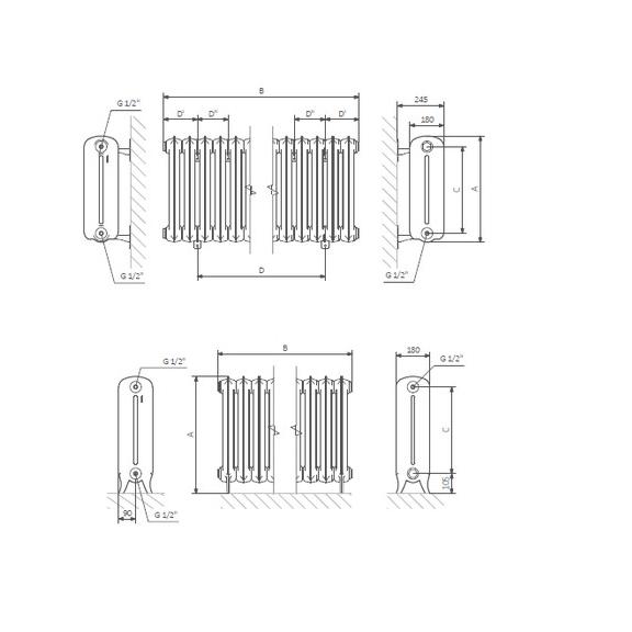 TERMA Plain retro radiátor farba Flat Black stojaci Schéma a rozmery