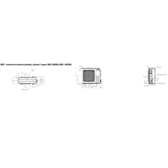 Mitsubishi MUZ-LN50VG, MUZ – AP50VG - rozmerová schéma