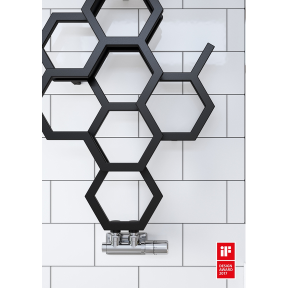 TERMA Hex dizajnový radiátor 821x486 Soft 9005 detail
