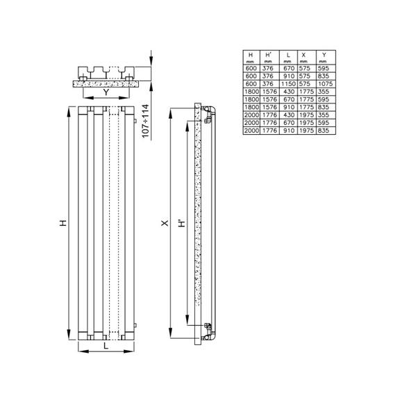 IRSAP Step V chrómový dizajnový radiátor - schéma