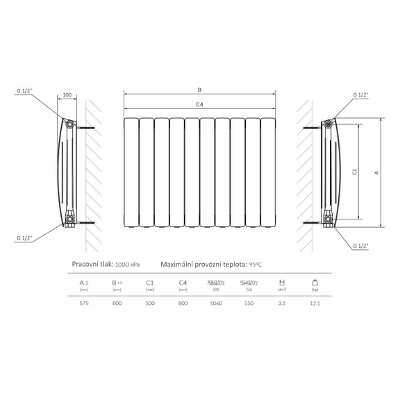 TERMA Camber vodný radiátor pod okno - technický nákres