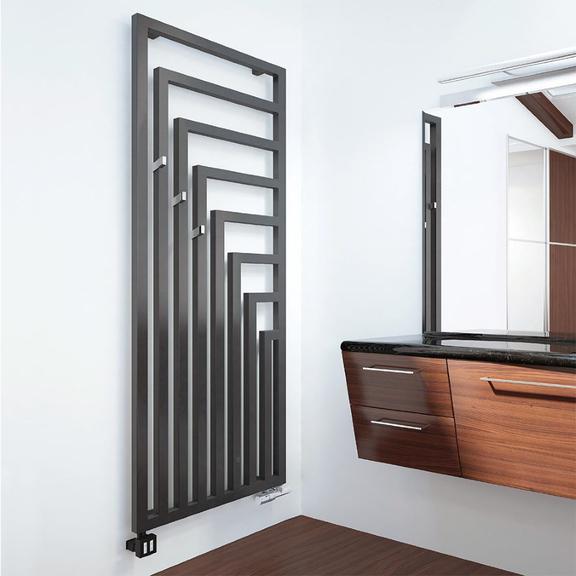 TERMA Angus V elektrický dizajnový radiátor 1780x680 RAL7021 - interiér