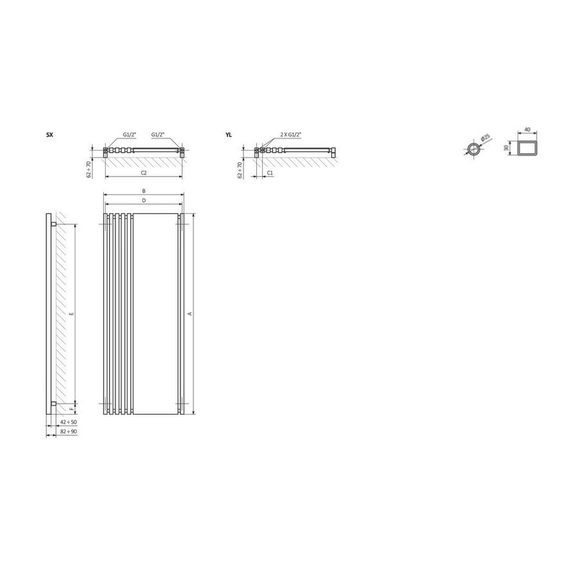 TERMA Triga M dizajnový radiátor so zrkadlom Schéma