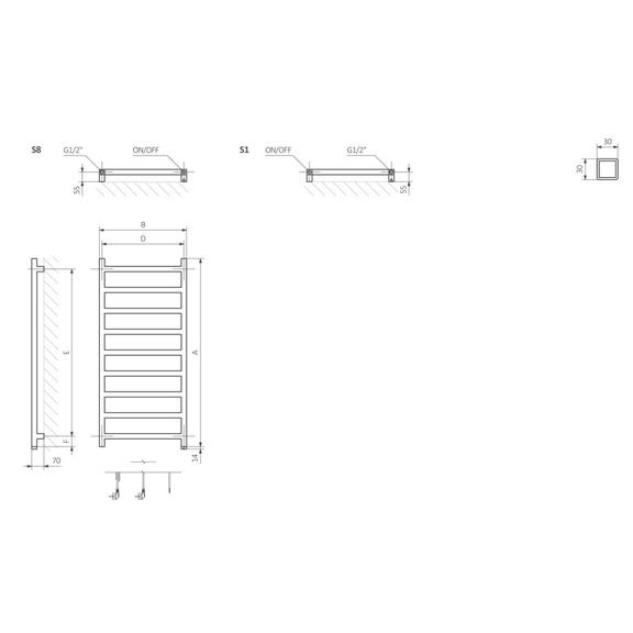 TERMA Simple One dizajnový radiátor Schéma
