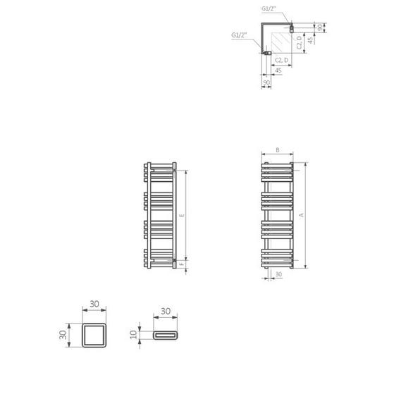 TERMA Outcorner rohový radiátor - Schéma - rozmery