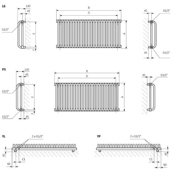 TERMA Delfin dizajnový radiátor  Schéma pre horizontálnu verziu