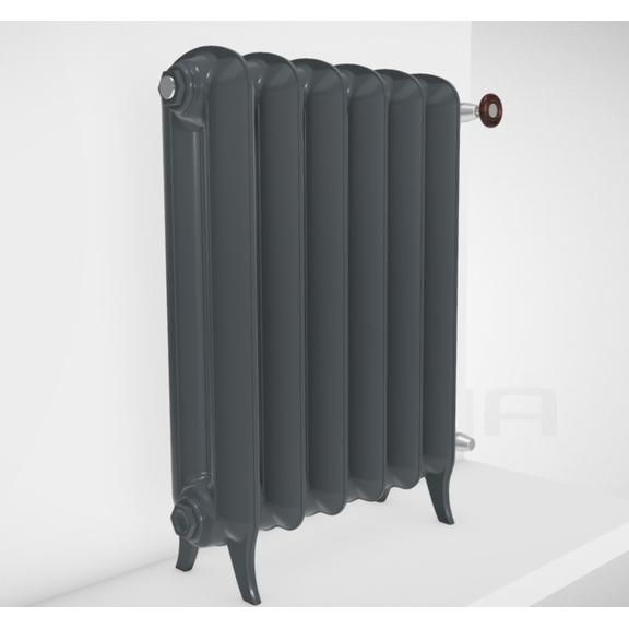 TERMA Plain retro radiátor farba Flat Black stojaci zboku