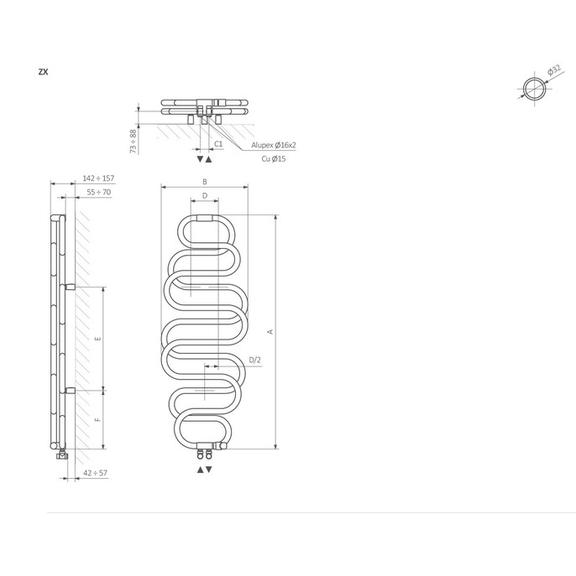 TERMA Perla dizajnový radiátor - Schématické zobrazenie