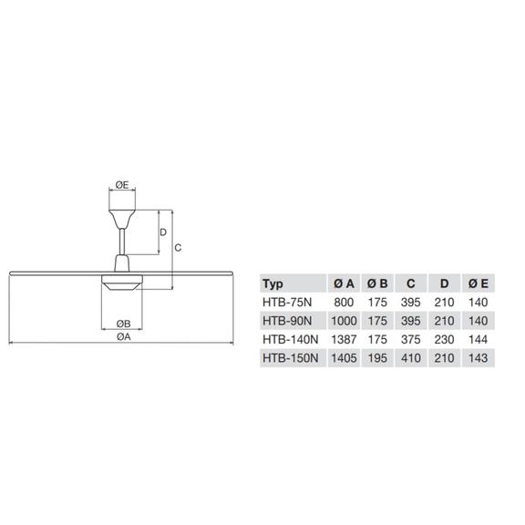 Soler & Palau HTB 75 RC IP44 stropný ventilátor - rozmery