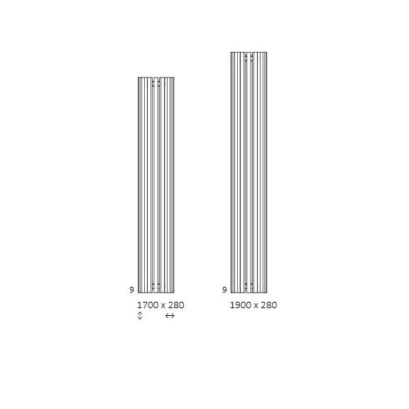 TERMA Triga ANC dizajnový radiátor Dostupné veľkosti