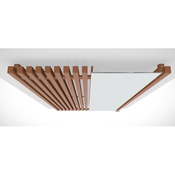 TERMA Triga M dizajnový radiátor so zrkadlom pohľad zhora farba Copper