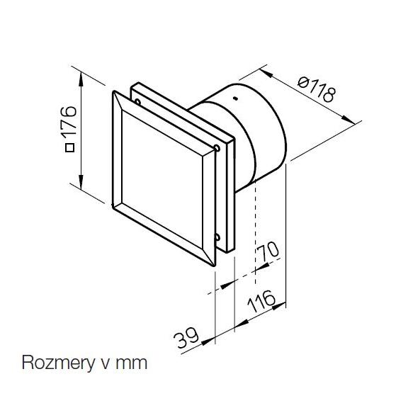 Helios MiniVent M1/120 dvojotáčkový štandardný ventilátor - rozmery