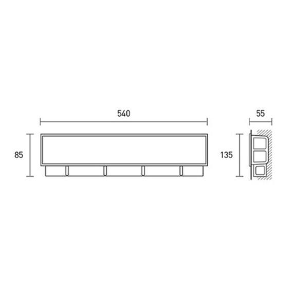 Inštalačná krabica pre nástenné jednotky 0010PS - rozmery
