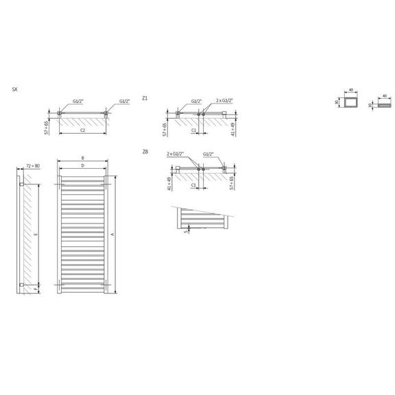 TERMA Mantis dizajnový radiátor - rozmery - schéma