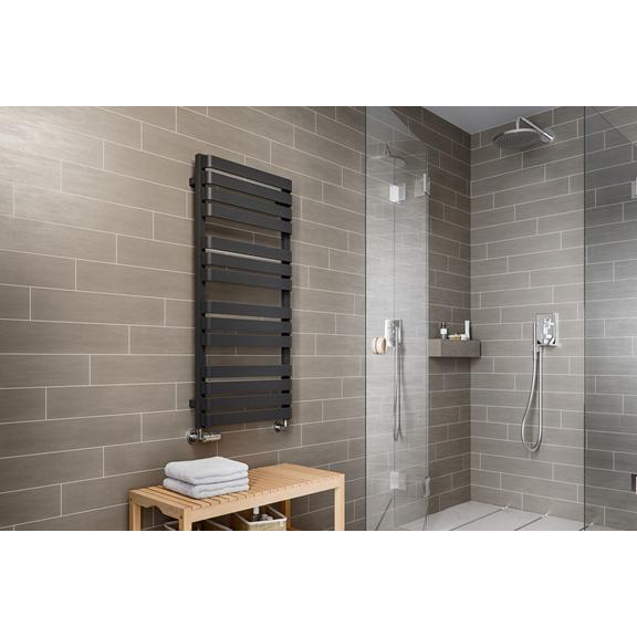 TERMA Warp T dizajnový radiátor 1110x500 farba Metallic Black - moderná kúpeľňa