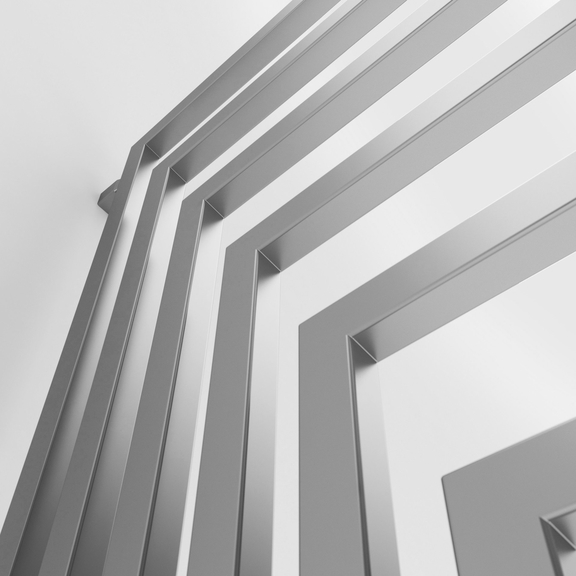 TERMA Angus DW dizajnový radiátor 1460x520 farba Chrome Effect detail