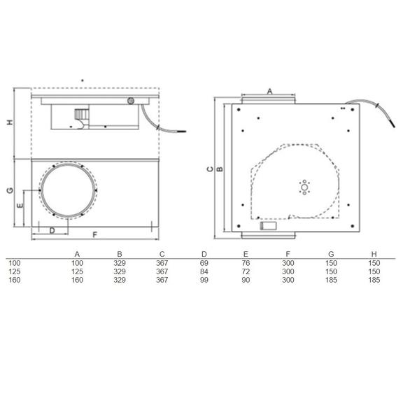 Systemair KVK Slim 100EC kruhový ventilátor - rozmery