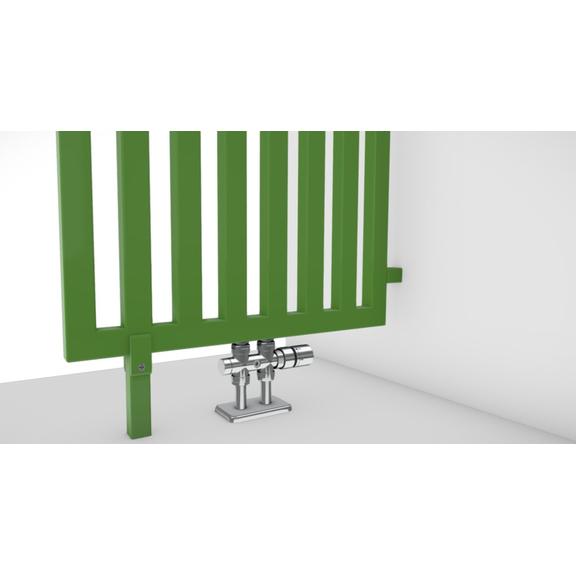 TERMA Angus DW dizajnový radiátor RAL6018 detail rozdeľovač miestnosti