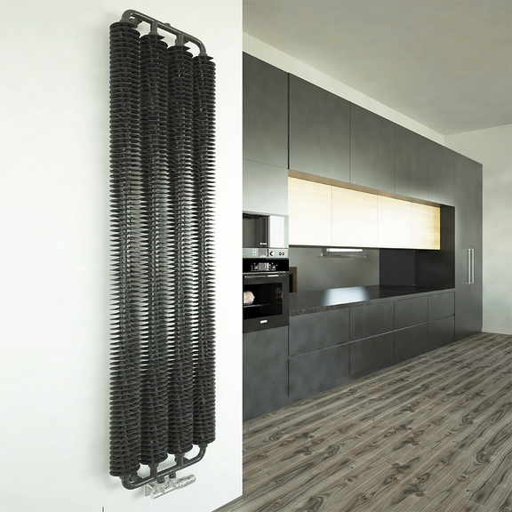 TERMA Ribbon V retro radiátor 1920x390 farba Metallic Grey