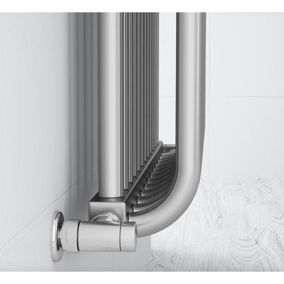 TERMA Delfin dizajnový radiátor  pod okno farba Chrome effect detail2