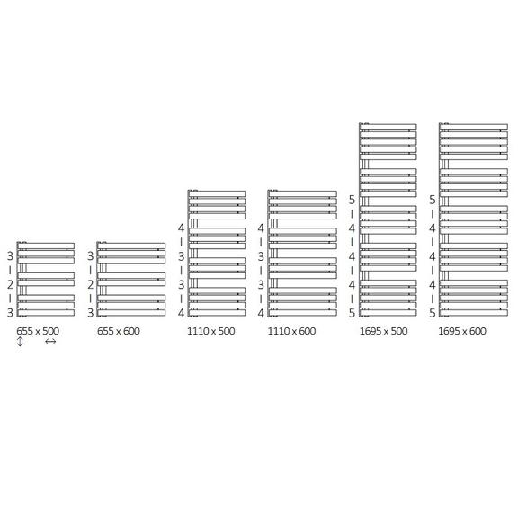 TERMA Warp S dizajnový radiátor Dostupné veľkosti