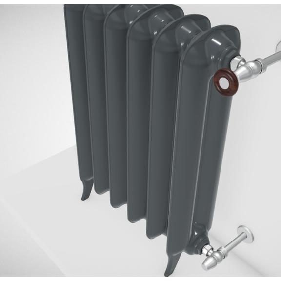 TERMA Plain retro radiátor farba Flat Black stojaci detail telo